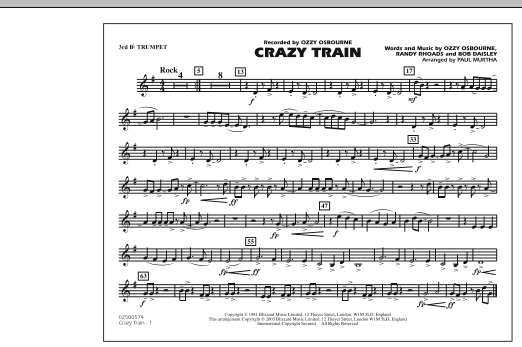 Crazy Train - 3rd Bb Trumpet (Marching Band)