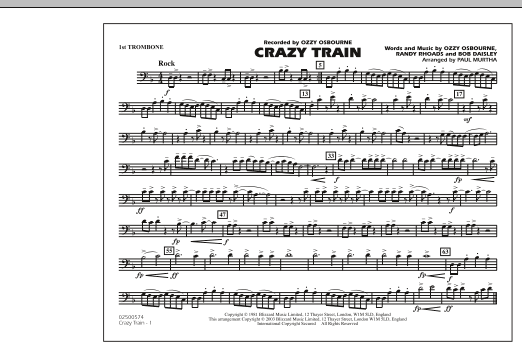 Crazy Train - 1st Trombone (Marching Band)