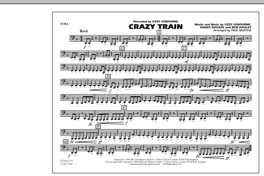 Crazy Train - Tuba (Marching Band)