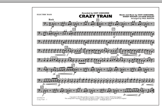 Crazy Train - Electric Bass (Marching Band)