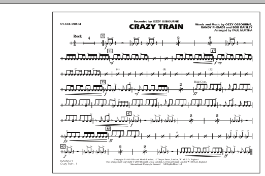 Guitar crazy train guitar tabs : Hollywood Sheet Music - sheet music titles including piano, guitar ...
