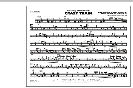 Crazy Train - Quad Toms (Marching Band)