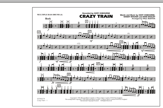 Crazy Train - Multiple Bass Drums (Marching Band)