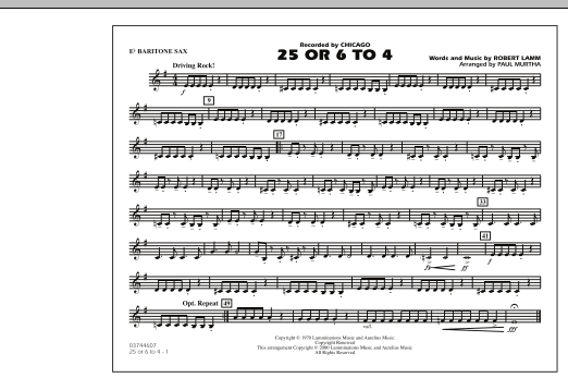 25 Or 6 To 4 - Eb Baritone Sax (Marching Band)