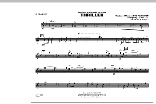 Thriller - Bb Clarinet by Jay Bocook Marching Band Digital Sheet Music