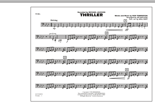 Thriller - Tuba by Jay Bocook Marching Band Digital Sheet Music