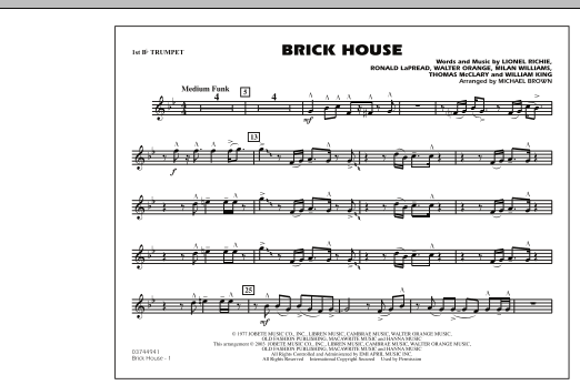 Brick House - 1st Bb Trumpet Sheet Music