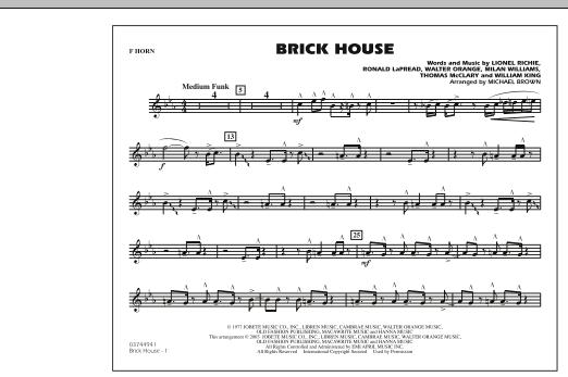Brick House - F Horn Sheet Music