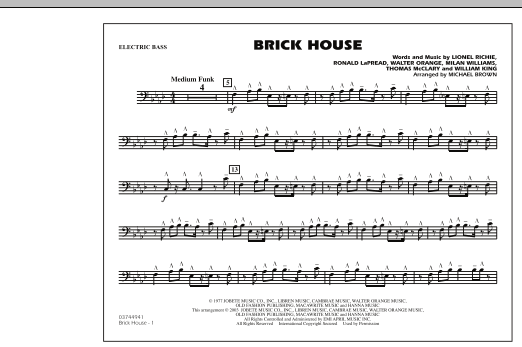 Brick House - Electric Bass (Marching Band)