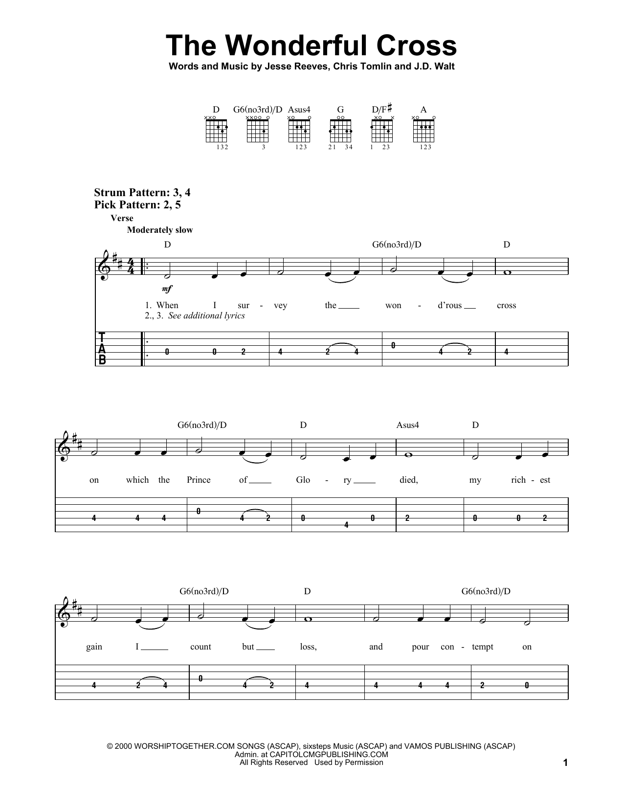 The Wonderful Cross (Easy Guitar Tab)