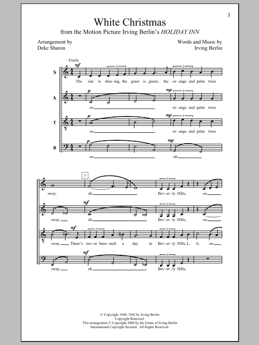 Partition chorale White Christmas de Deke Sharon - SATB