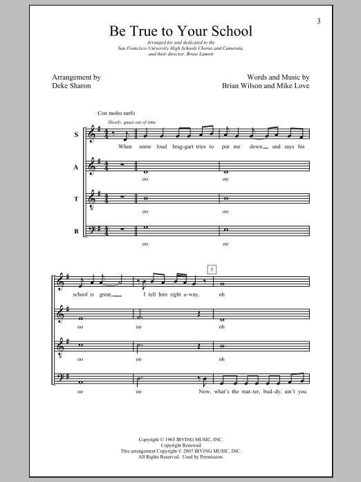 Be True To Your School (arr. Deke Sharon) Sheet Music