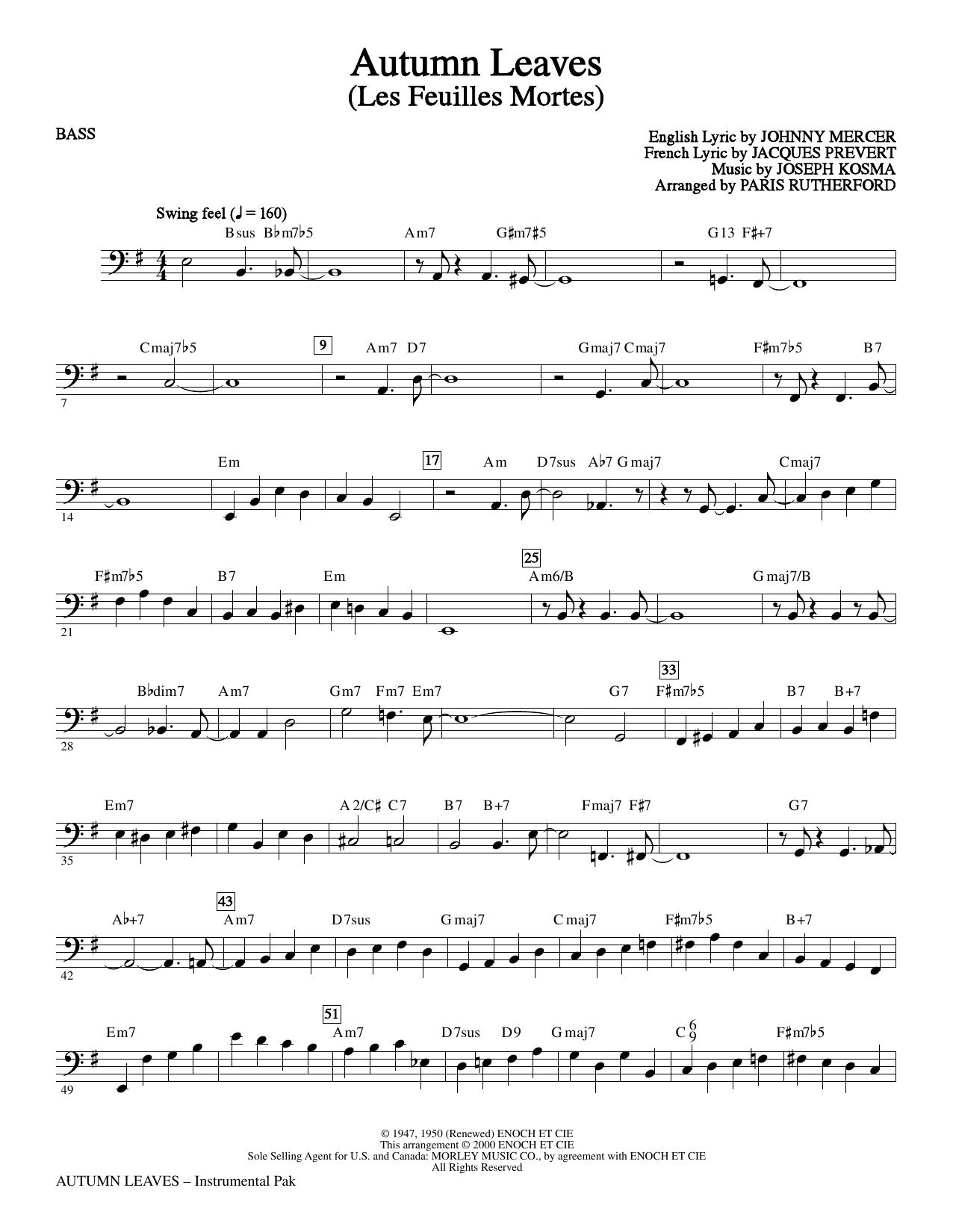Autumn Leaves - Bass (Choir Instrumental Pak)