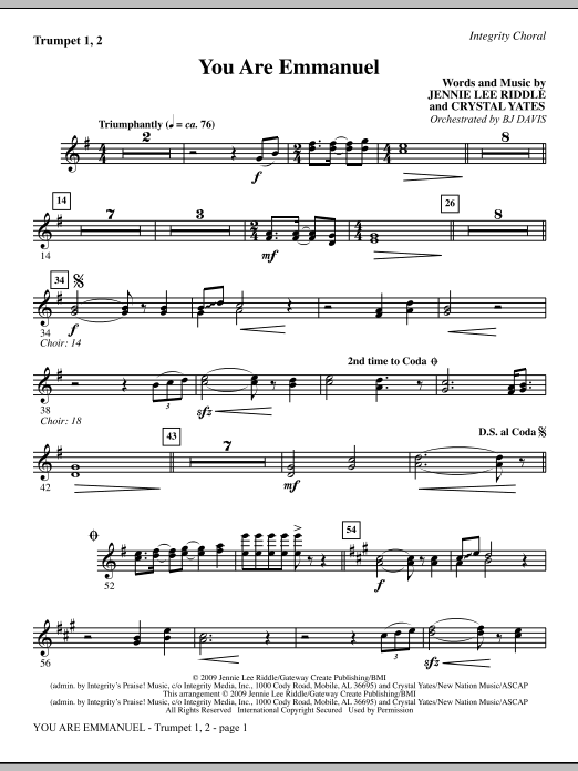 You Are Emmanuel - Bb Trumpet 1 & 2 Sheet Music