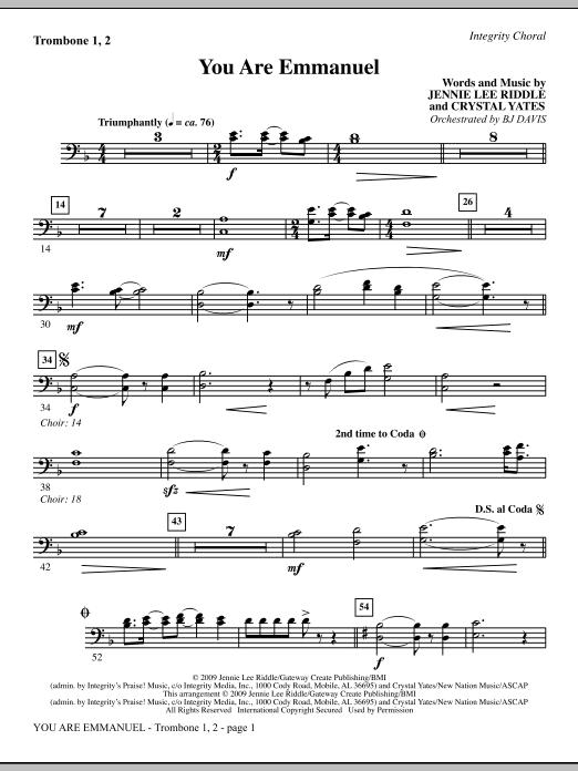You Are Emmanuel - Trombone 1 & 2 Sheet Music