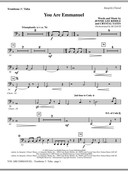 You Are Emmanuel - Trombone 3/Tuba Sheet Music