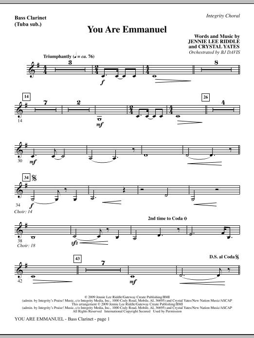 You Are Emmanuel - Alto Sax (Horn sub.) Sheet Music