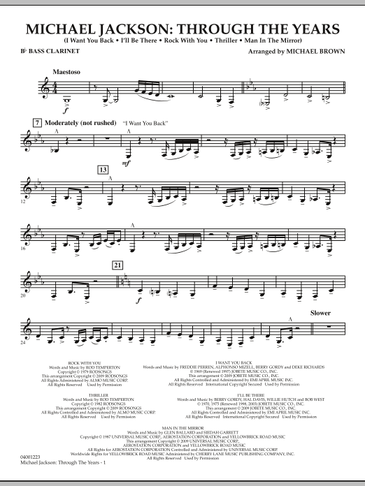 Michael Jackson: Through The Years - Bb Bass Clarinet (Concert Band)