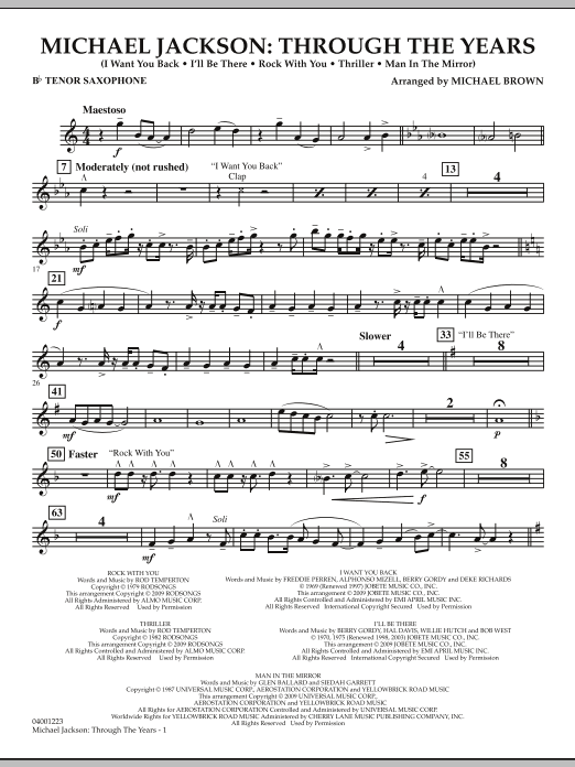 Michael Jackson: Through The Years - Bb Tenor Saxophone (Concert Band)