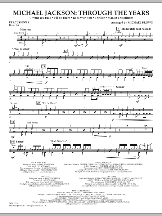 Michael Jackson: Through The Years - Percussion 1 (Concert Band)