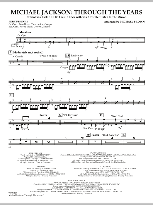 Michael Jackson: Through The Years - Percussion 2 (Concert Band)
