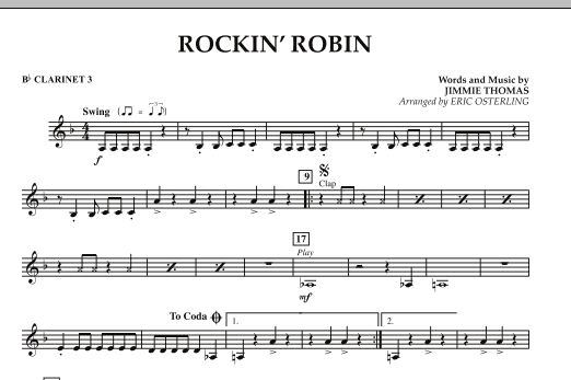 Rockin' Robin - Bb Clarinet 3 (Concert Band)