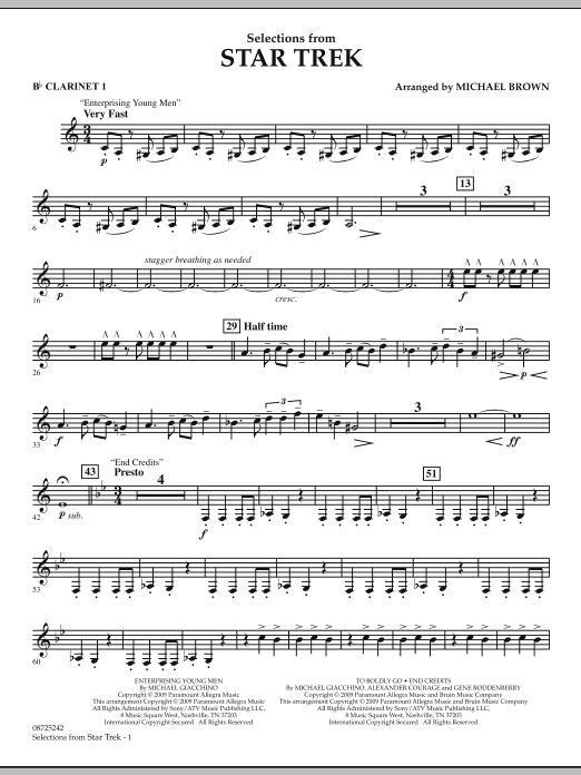 Selections from Star Trek - Bb Clarinet 1 (Concert Band)