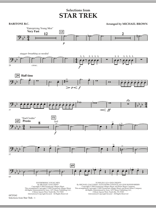 Selections from Star Trek - Baritone B.C. (Concert Band)