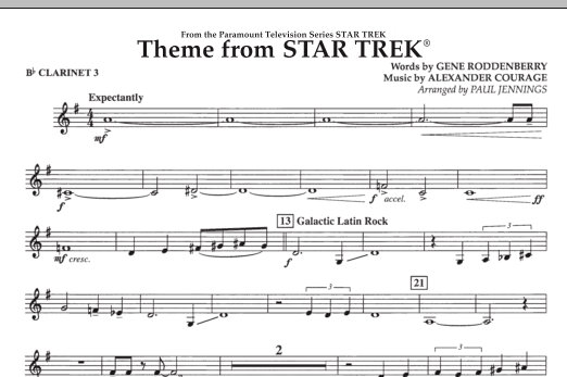 Theme from Star Trek (TV Series) - Bb Clarinet 3 (Concert Band)