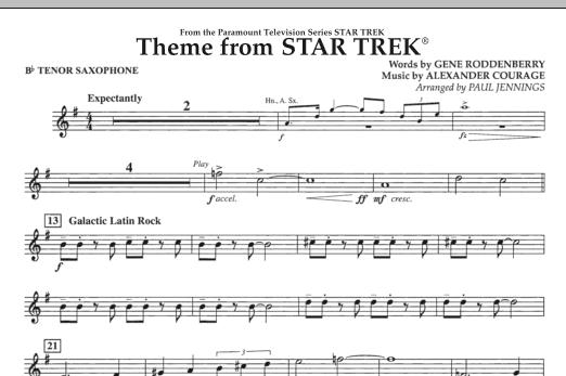 Theme from Star Trek (TV Series) - Bb Tenor Saxophone (Concert Band)