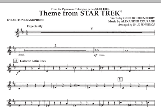 Theme from Star Trek (TV Series) - Eb Baritone Saxophone (Concert Band)