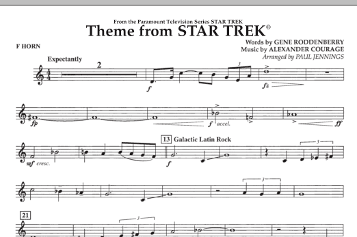 Theme from Star Trek (TV Series) - F Horn (Concert Band)