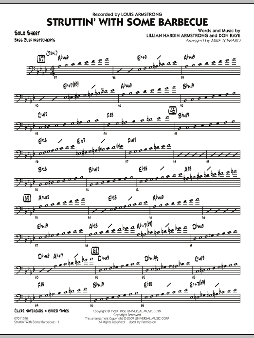 Struttin' with Some Barbecue - Bass Clef Solo Sheet (Jazz Ensemble)
