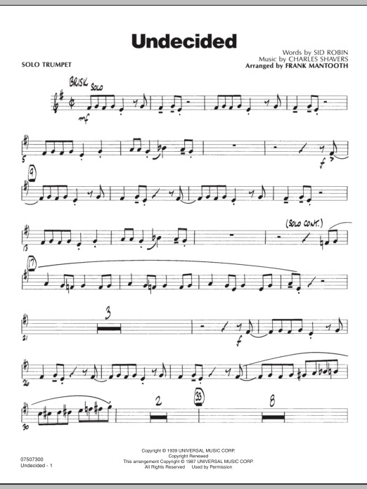 Undecided - Solo Trumpet by Frank Mantooth Jazz Ensemble Digital Sheet Music