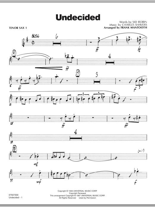Undecided - Tenor Sax 1 (Jazz Ensemble)