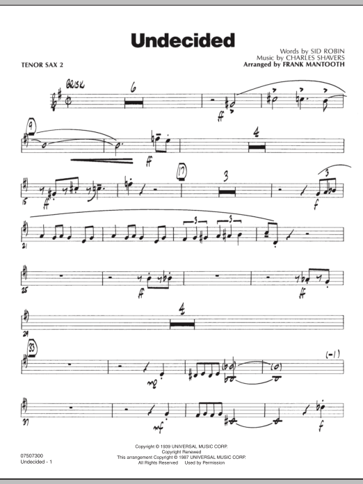 Undecided - Tenor Sax 2 (Jazz Ensemble)