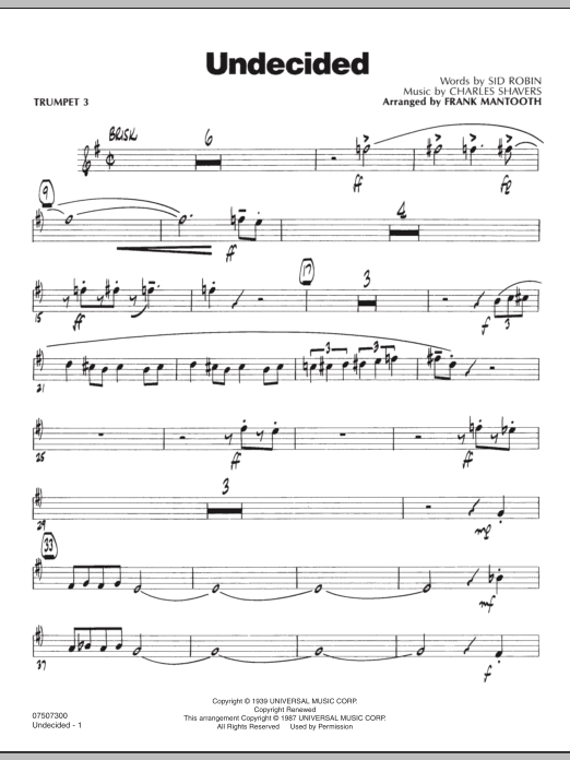 Undecided - Trumpet 3 (Jazz Ensemble)