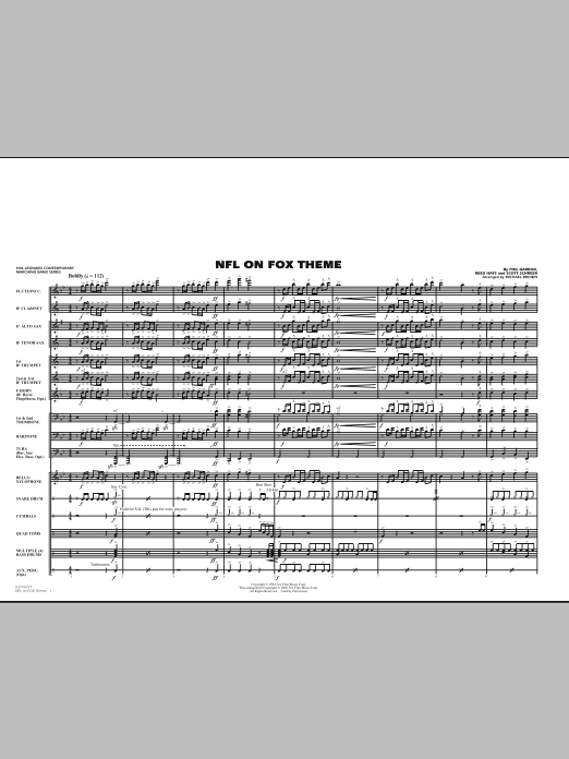 NFL On Fox (COMPLETE) sheet music for marching band by Michael Brown, Phil Garrod and Scott Schreer. Score Image Preview.