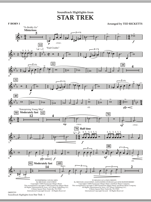 Star Trek - Soundtrack Highlights - F Horn 1 (Concert Band)