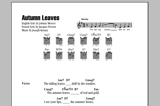 Guitar guitar tablature with lyrics : Autumn Leaves by Johnny Mercer - Guitar Chords/Lyrics - Guitar ...