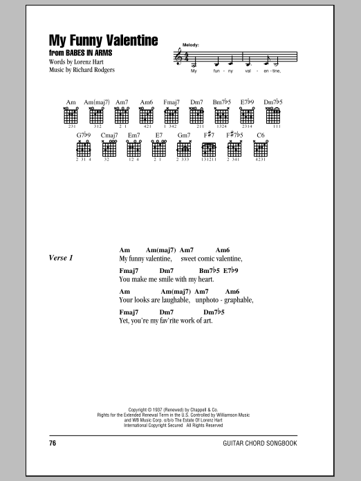 My Funny Valentine Sheet Music Direct