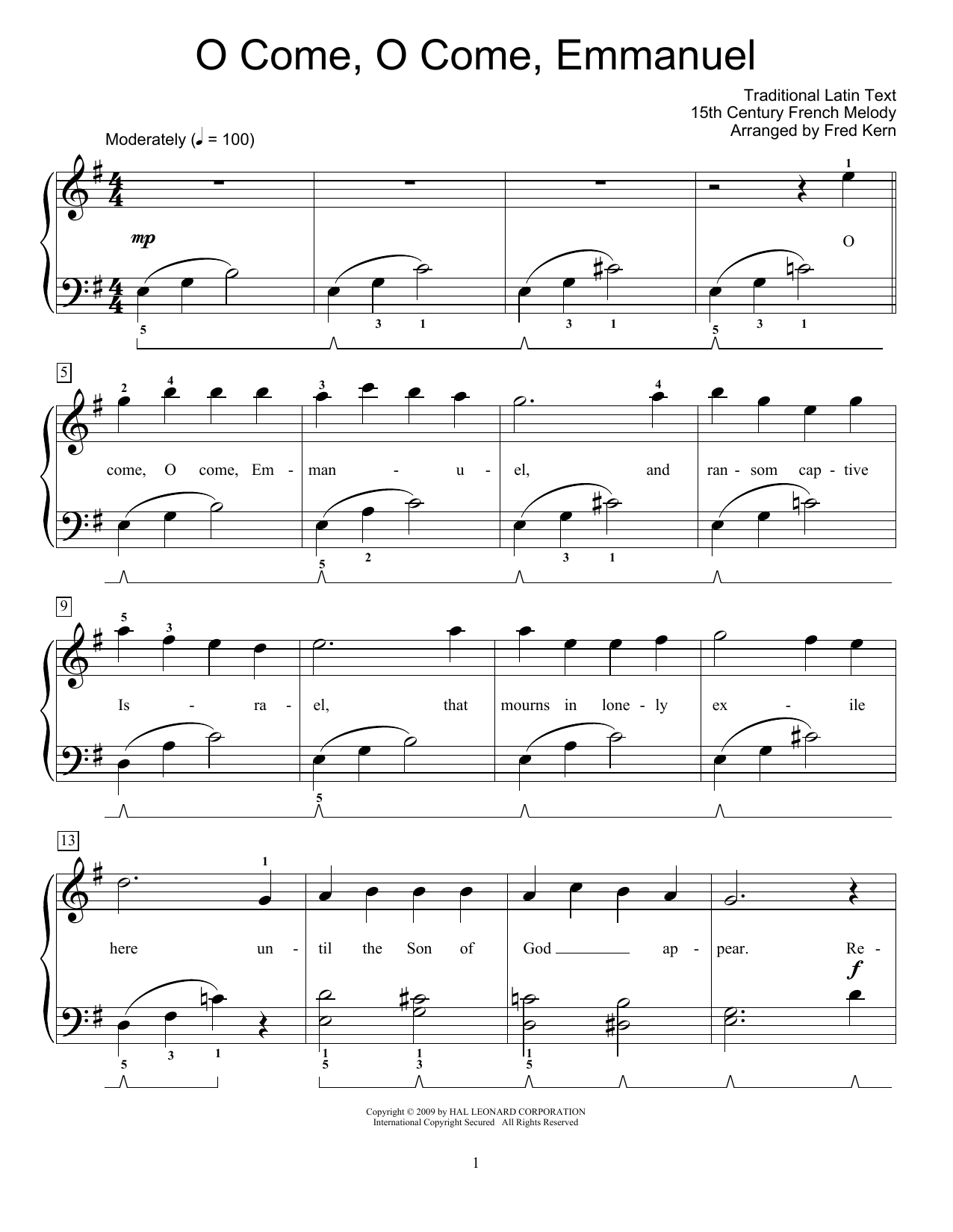O Come, O Come Emmanuel sheet music by Traditional (Easy ...