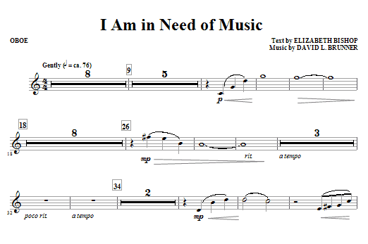 I Am In Need Of Music - Oboe Sheet Music