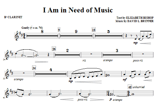 I Am In Need Of Music - Bb Clarinet Sheet Music