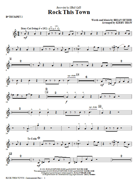 Rock This Town - Trumpet 2 (Choir Instrumental Pak)