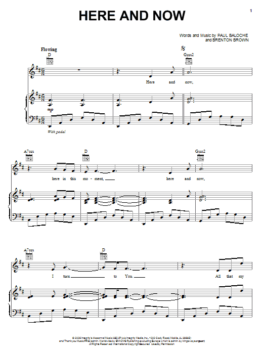 Here And Now (Piano, Vocal & Guitar (Right-Hand Melody))