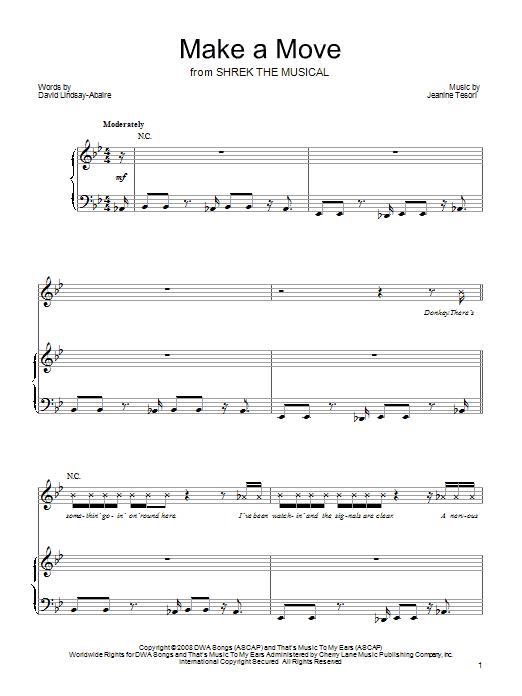 Partition piano Make A Move de Shrek The Musical - Piano Voix Guitare (Mélodie Main Droite)