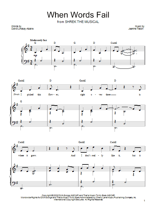 When Words Fail (Piano, Vocal & Guitar (Right-Hand Melody))
