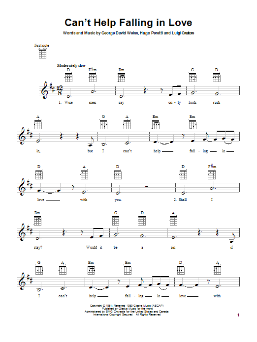 Can\'t Help Falling In Love | Sheet Music Direct