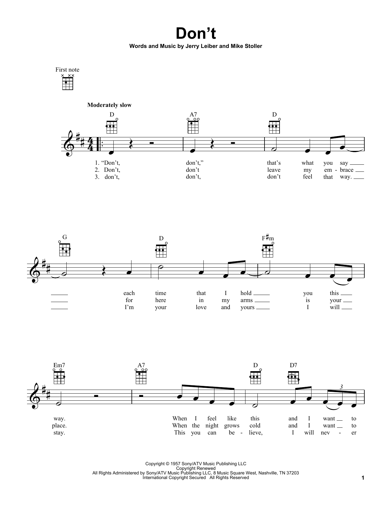 Tablature guitare Don't de Elvis Presley - Ukulele